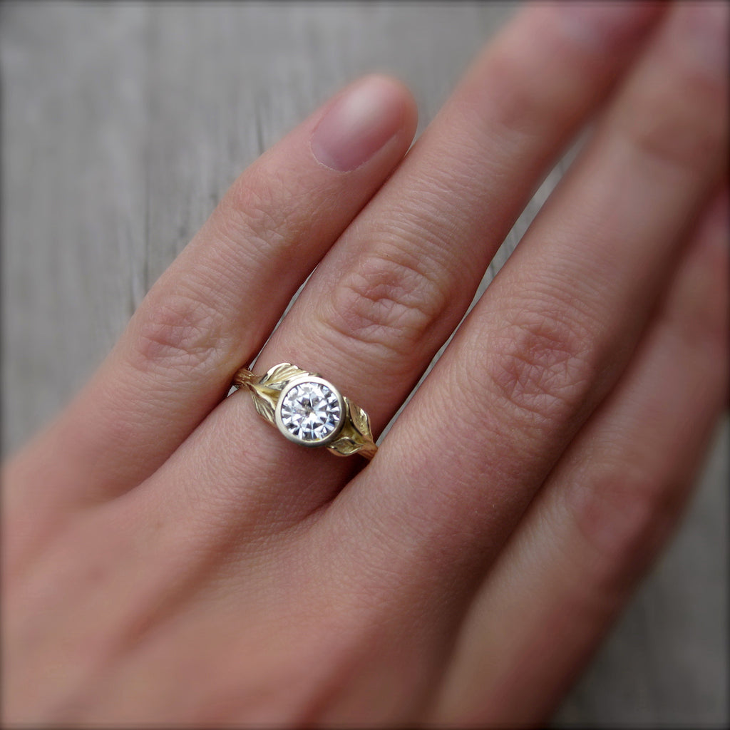 Round Forever One™ Moissanite Twig & Leaf Engagement Ring (.8ct)