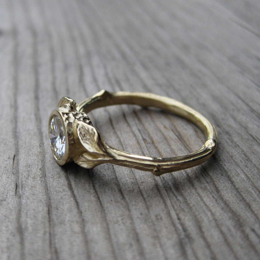 nature inspired ethical twig and leaf engagement ring in rose gold, white gold, or yellow gold