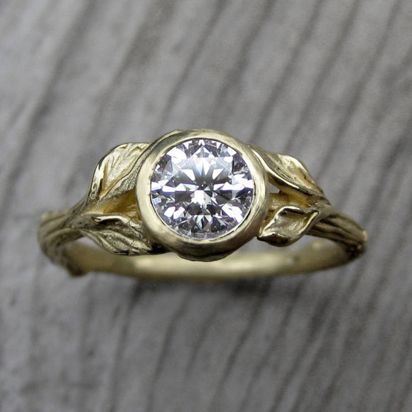 <center><strong>・HAZEL・</strong><br></center> Diamond Twig & Leaf Ring (.75ct VS2/G, Very Good Cut or Higher)