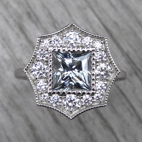 <center><strong>・OCTAVIA・</strong><br></center>Charles & Colvard Grey Moissanite, Diamond Halo (1.70ct, Ready to Ship)