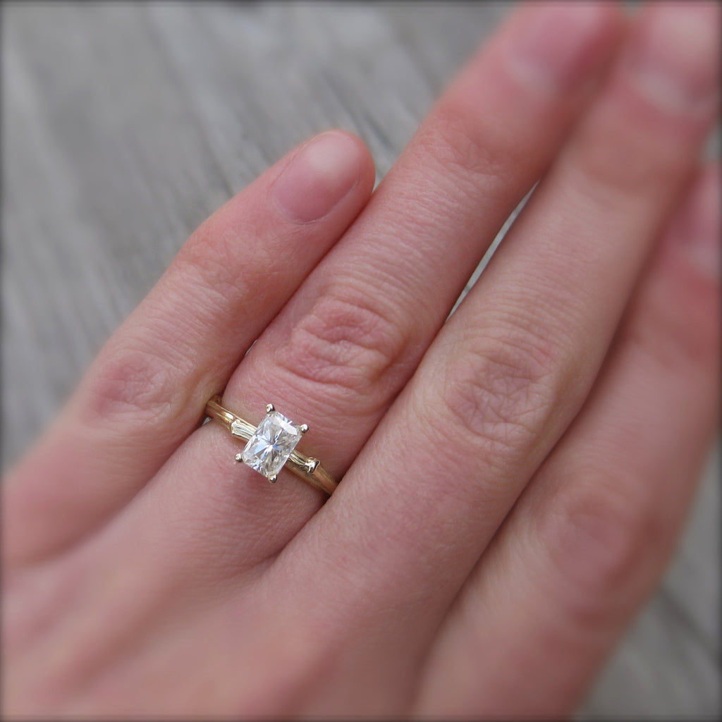 Ethical branch engagement ring with a radiant cut moissanite in rose gold