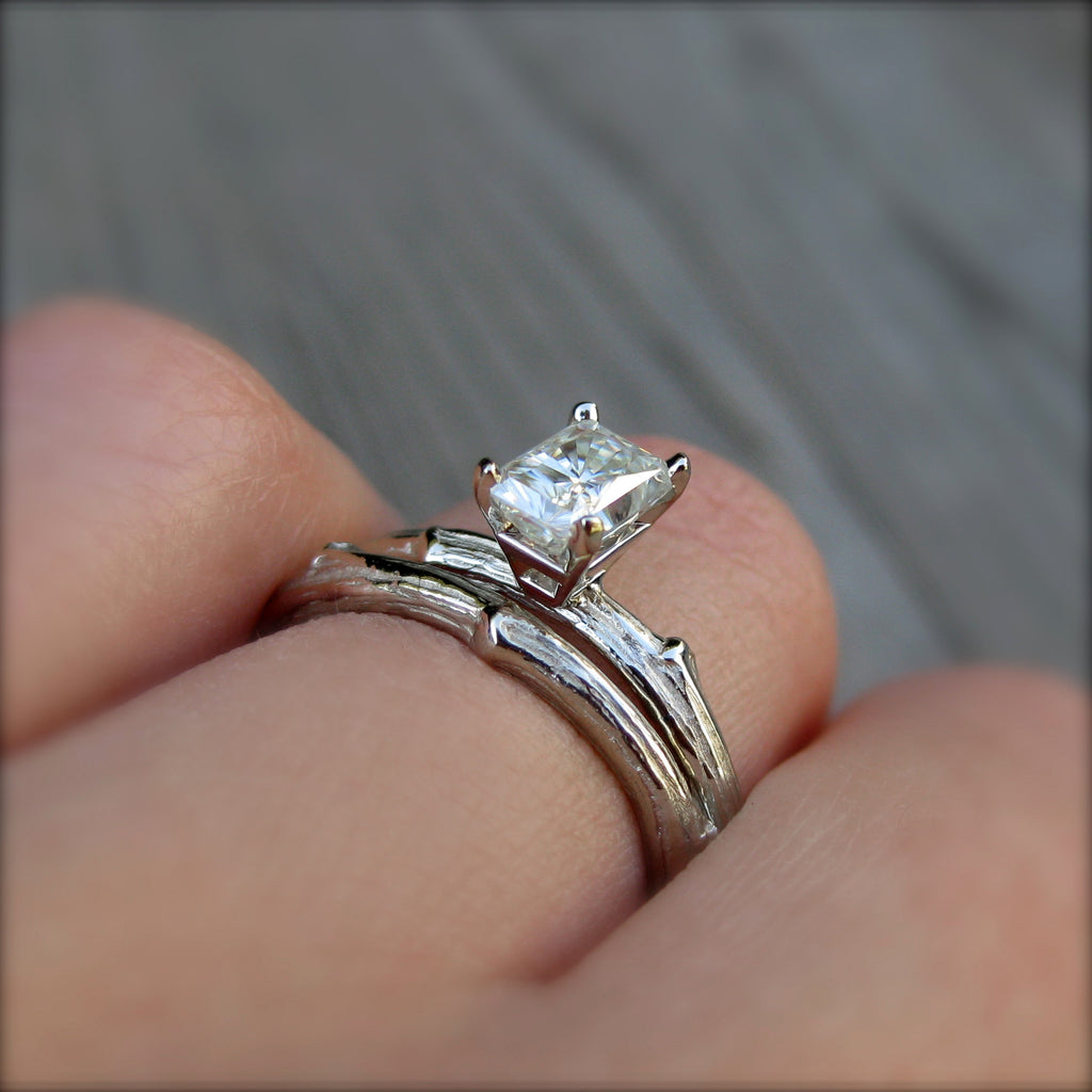 Ethical branch stackable engagement ring with a Forever One radiant cut moissanite