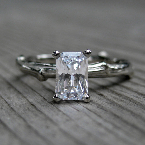 Radiant Cut White Sapphire Twig Engagement Ring 6 carat