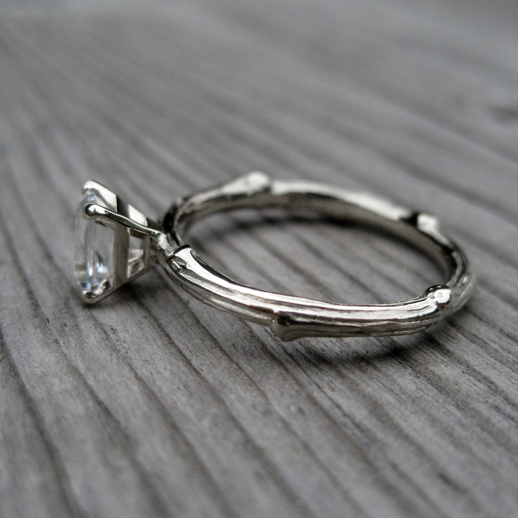Radiant White Sapphire Twig Engagement Ring (.6ct)
