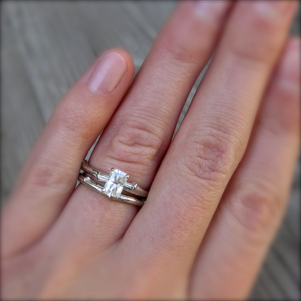 Eco Friendly twig ring with a Forever One radiant cut moissanite