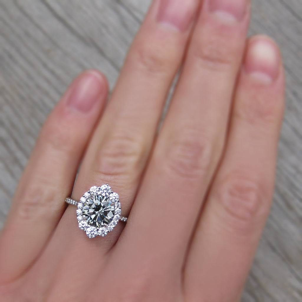 2ct Vintage art deco style halo ring with grey moissanite and a diamond band