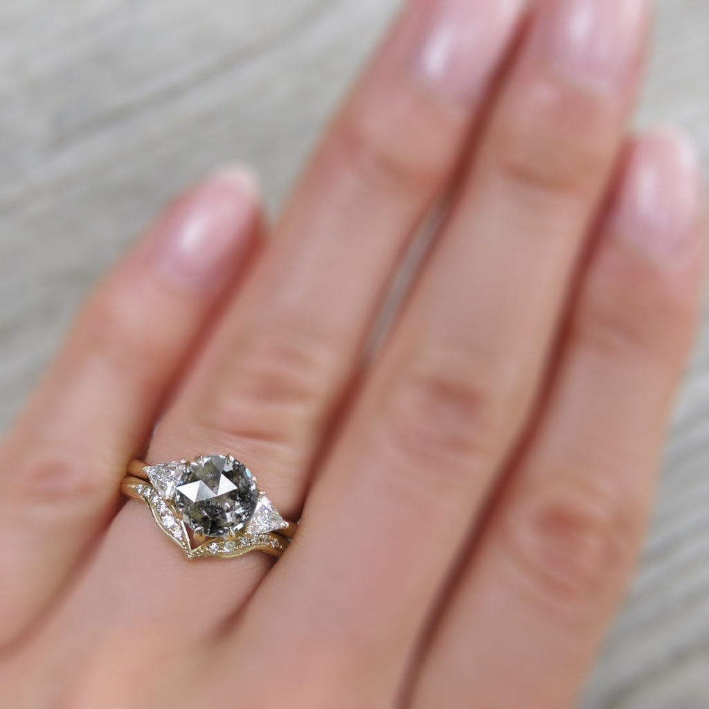 <center><strong>・MAGNOLIA・</strong><br></center>Build Your Own: Salt + Pepper Diamond 3-Stone Ring (1.86ctw+)