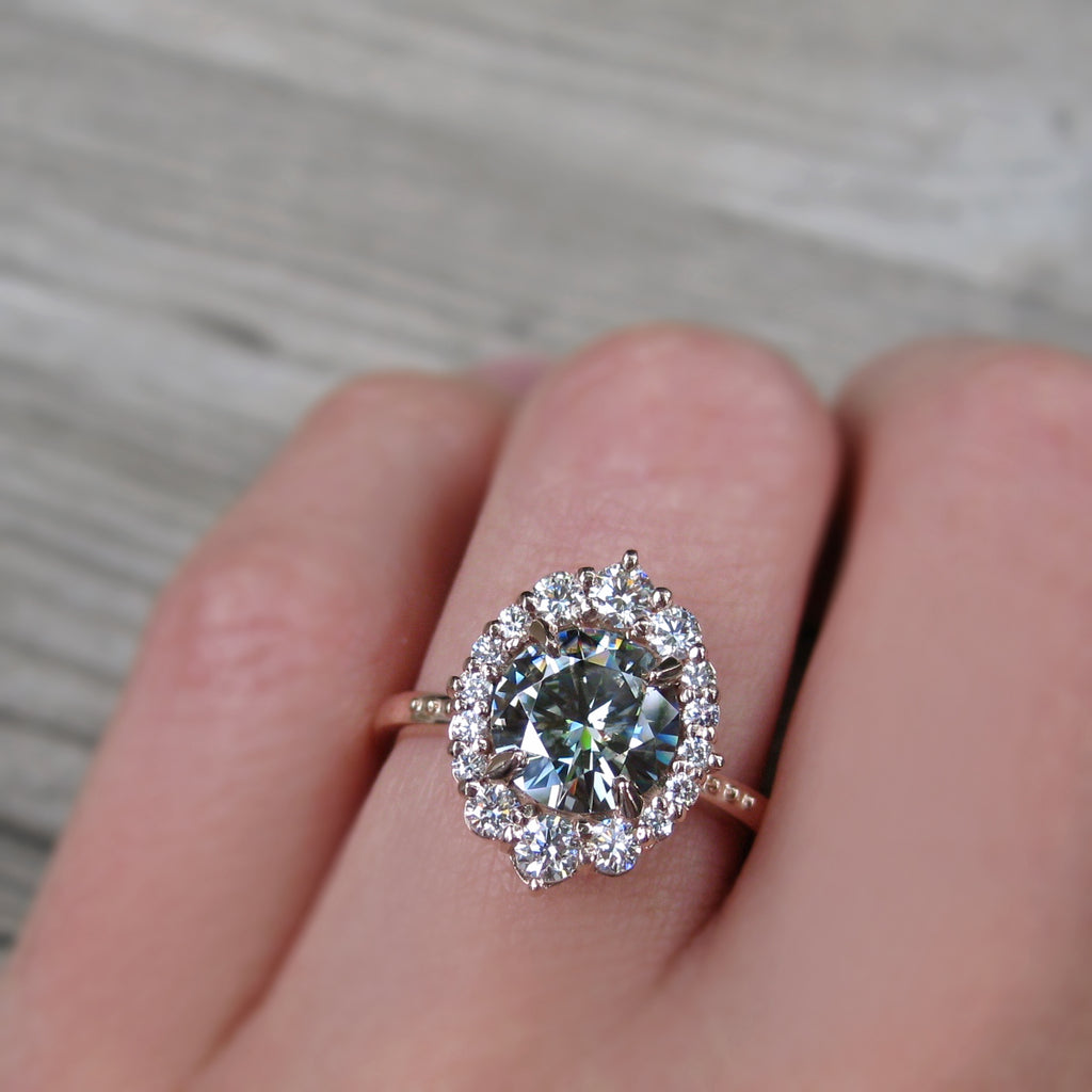 Grey Moissanite Engagement Ring with Diamond Halo (1.93ct)