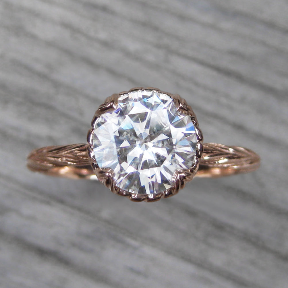 1.5ct Forever One Moissanite Rose gold solitaire engagement ring with