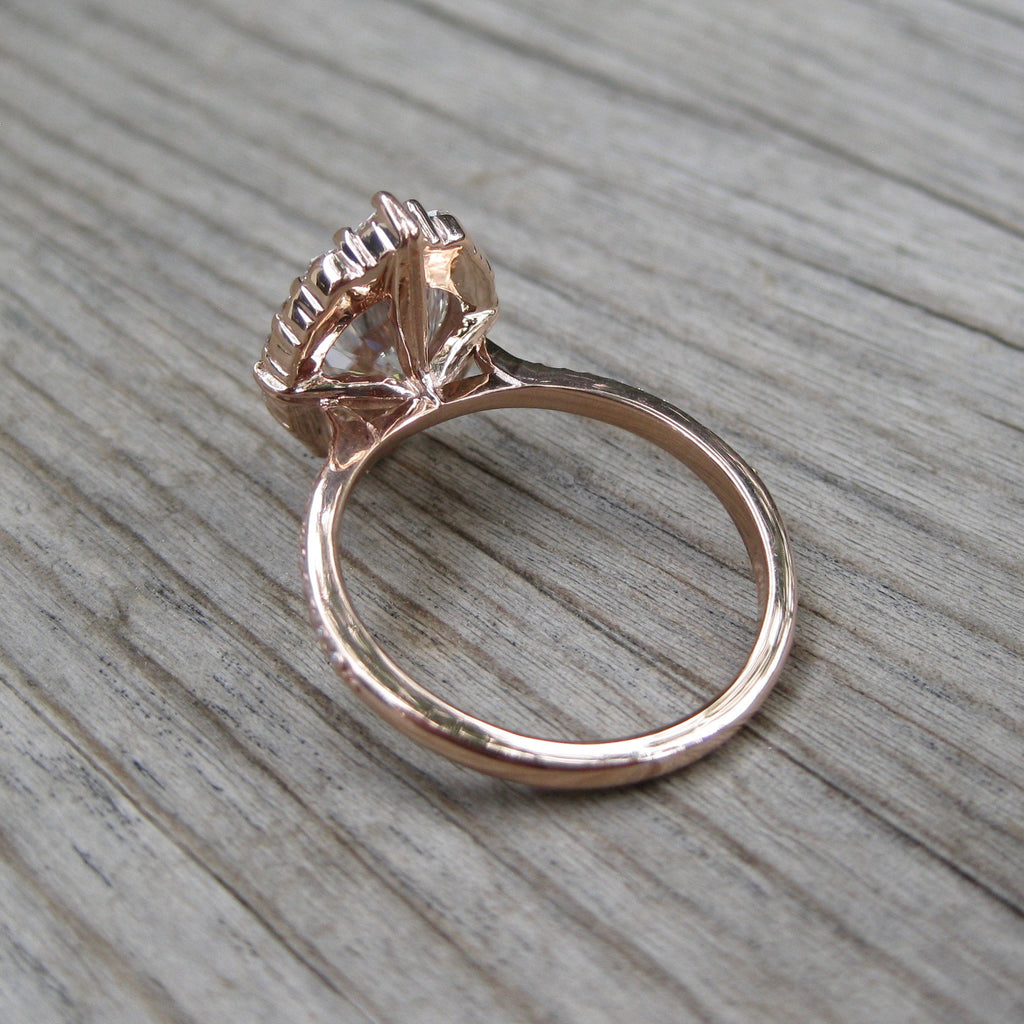 Back view of Forever One Hearts and Arrows vintage halo ring in rose gold