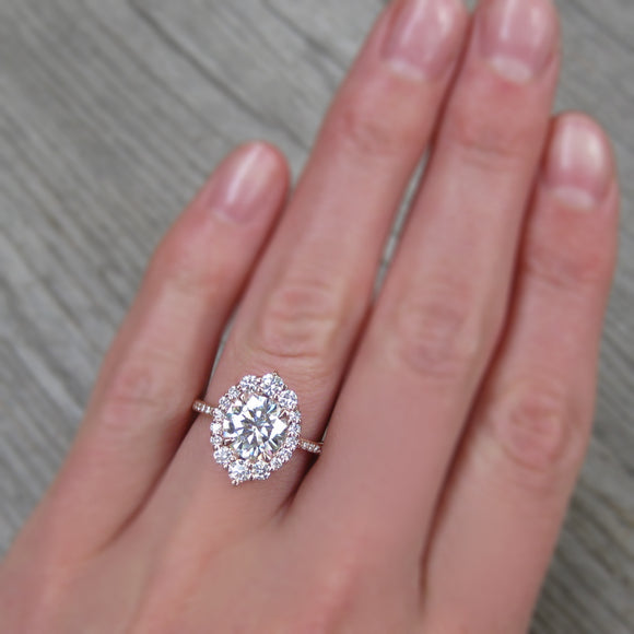 The 2.5ct Antique-Inspired Lab-Grown Diamond and Conflict-Free Canadian Diamond Halo Engagement Ring