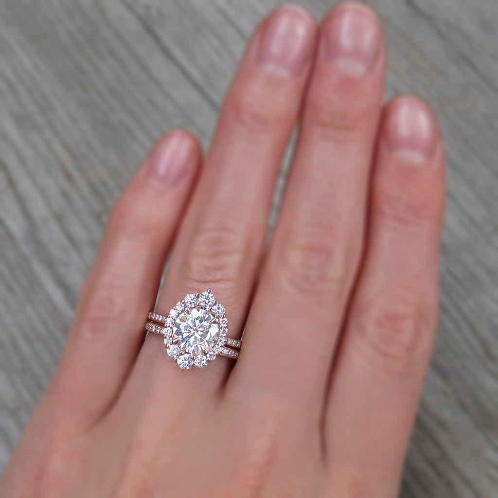 Charles & Colvard Moissanite Halo Ring with a Lab-Grown Diamond Halo and Rose Gold