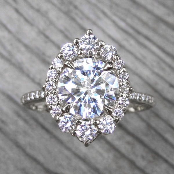 Forever One™ or Supernova™ Moissanite Engagement Ring with Diamond Halo (1.93ct)