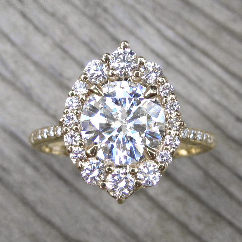 Vintage inspired Hearts & Arrows moissanite halo ring + conflict-free diamonds in yellow gold