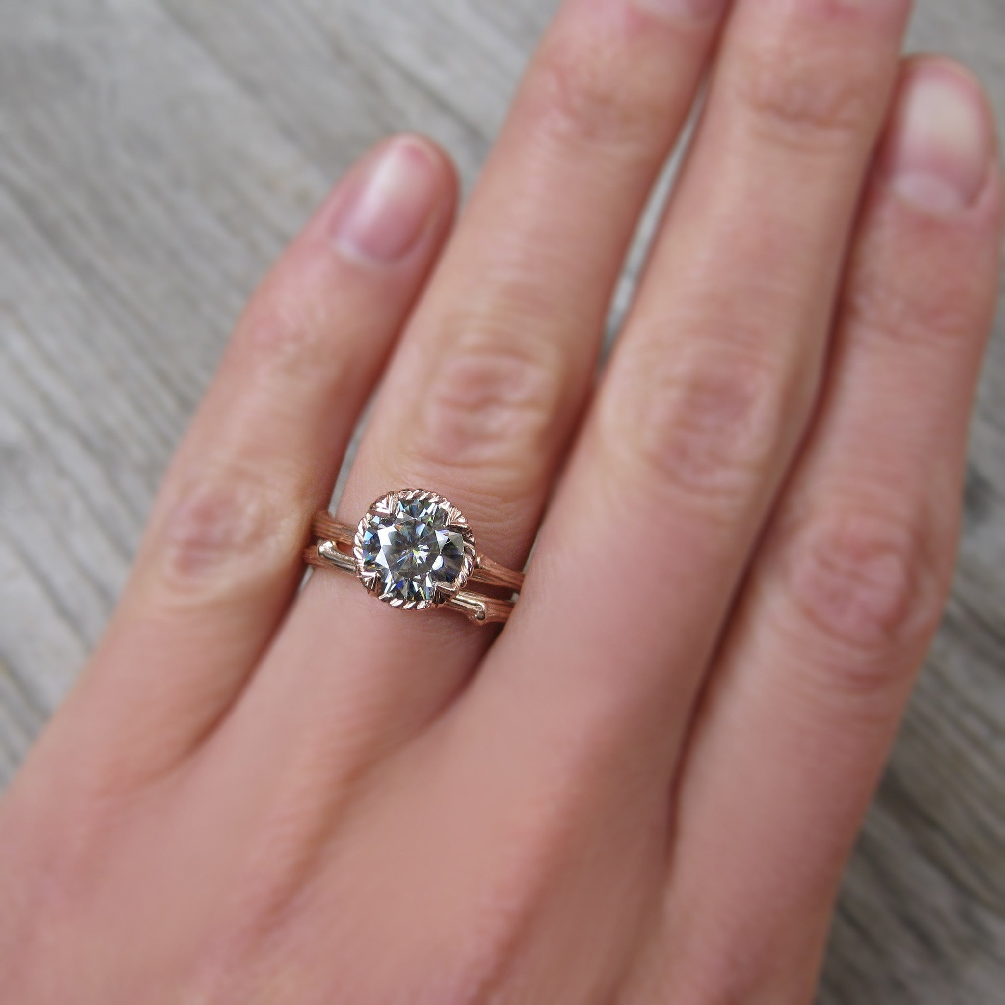 Grey Moissanite Twig Engagement Ring, 2ct | Kristin Coffin Jewelry