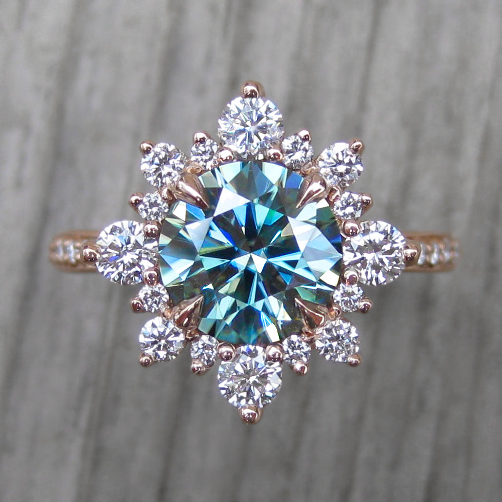 <center><strong>・REYNA・</strong><br></center>Aqua-Teal Iconic™ Moissanite Center, Diamond Halo (2.04ctw, Ready to Ship)