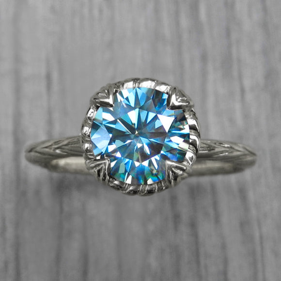 <center><strong>・SIENNA・</strong><br></center> Aqua-Teal Iconic™ Moissanite, Willow Leaves (1.5ct)