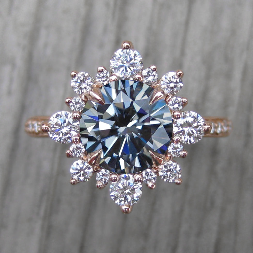 <center><strong>・REYNA・</strong><br></center>Iconic™ Grey Moissanite Center, Diamond Halo (2.04ctw, Ready to Ship)