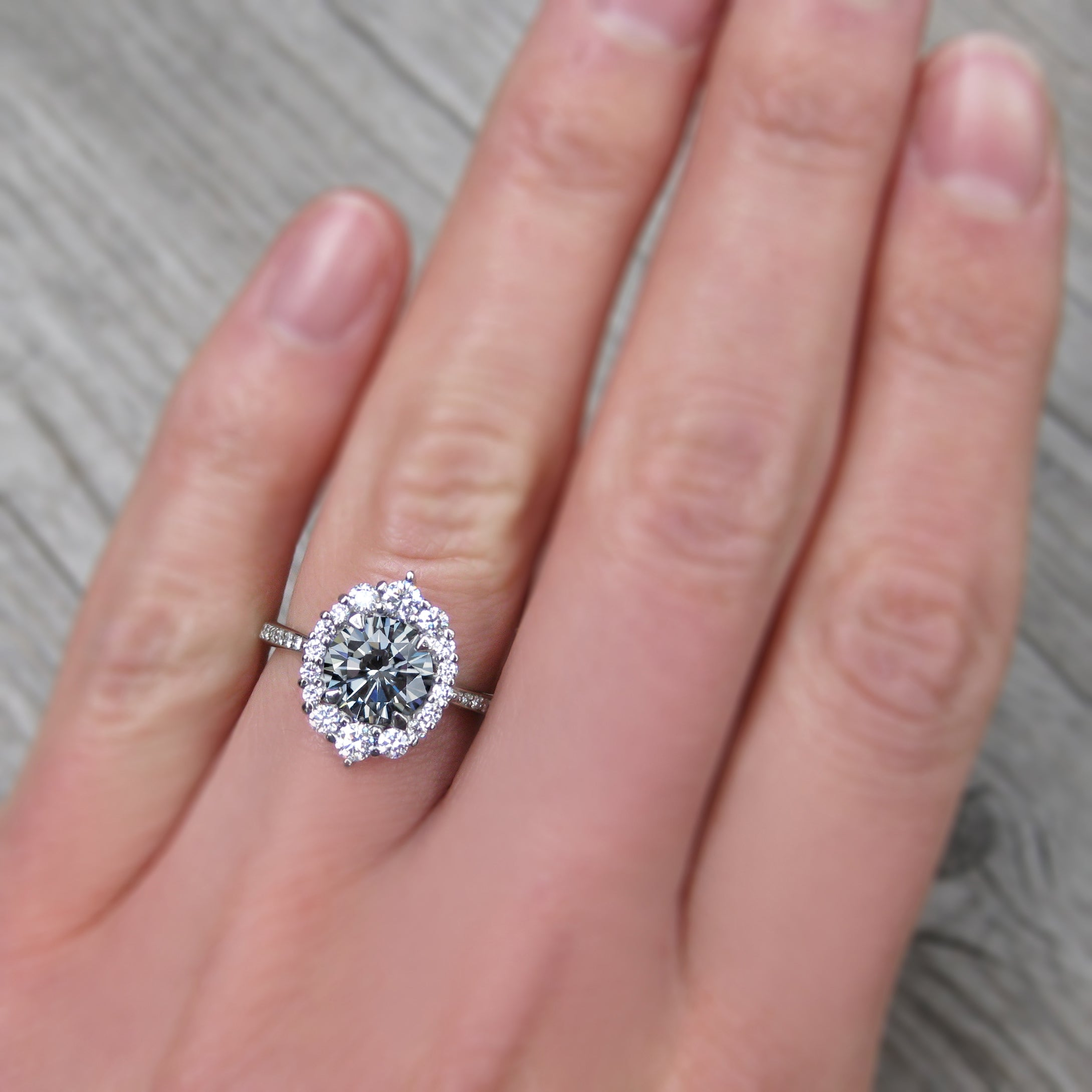 Grey Moissanite Engagement Ring with Diamond Halo & Pavé Band ...