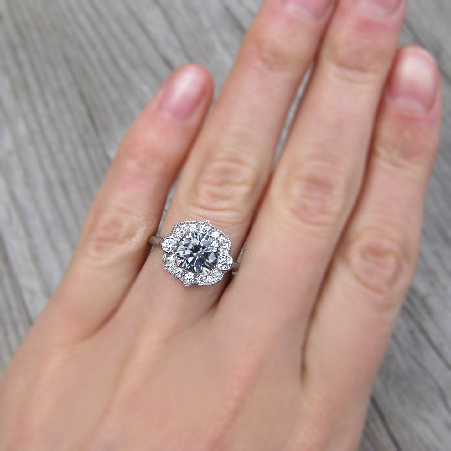 Grey Iconic Moissanite Engagement Ring & Diamond Halo (1.5ct ...