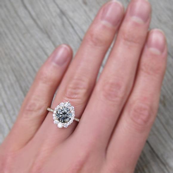 2ct vintage inspired rose gold halo with a grey moissanite and diamond halo
