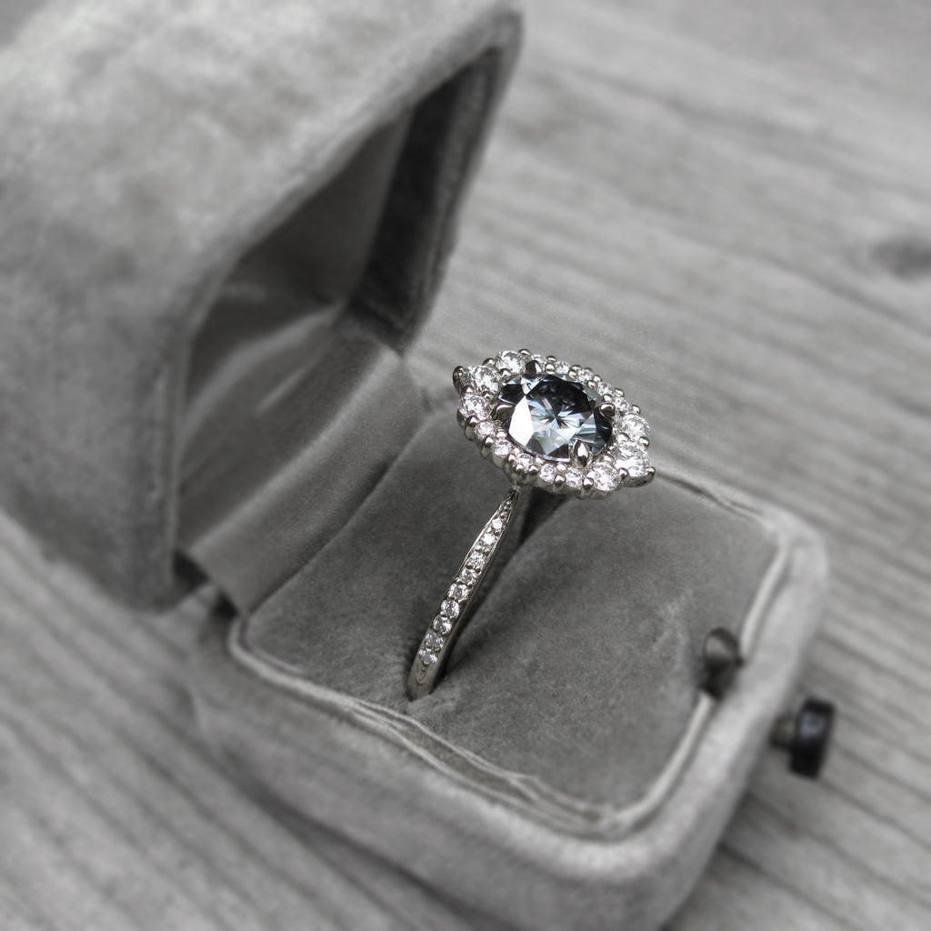 2ct low-profile 14k white gold halo ring with conflict free diamonds