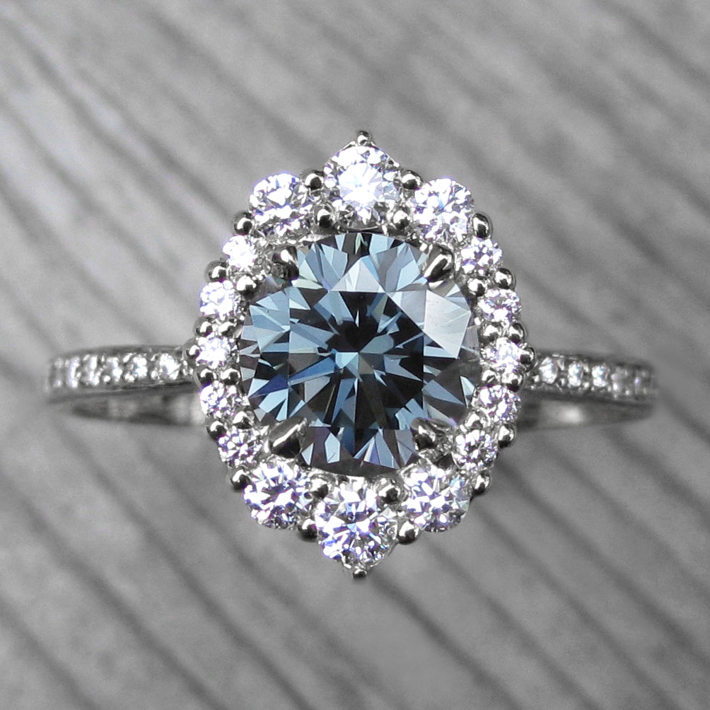 <center><strong>・EMERSON・</strong><br></center>Blue-Grey Iconic™ Moissanite, Diamond Halo & Band (1.70ct+)