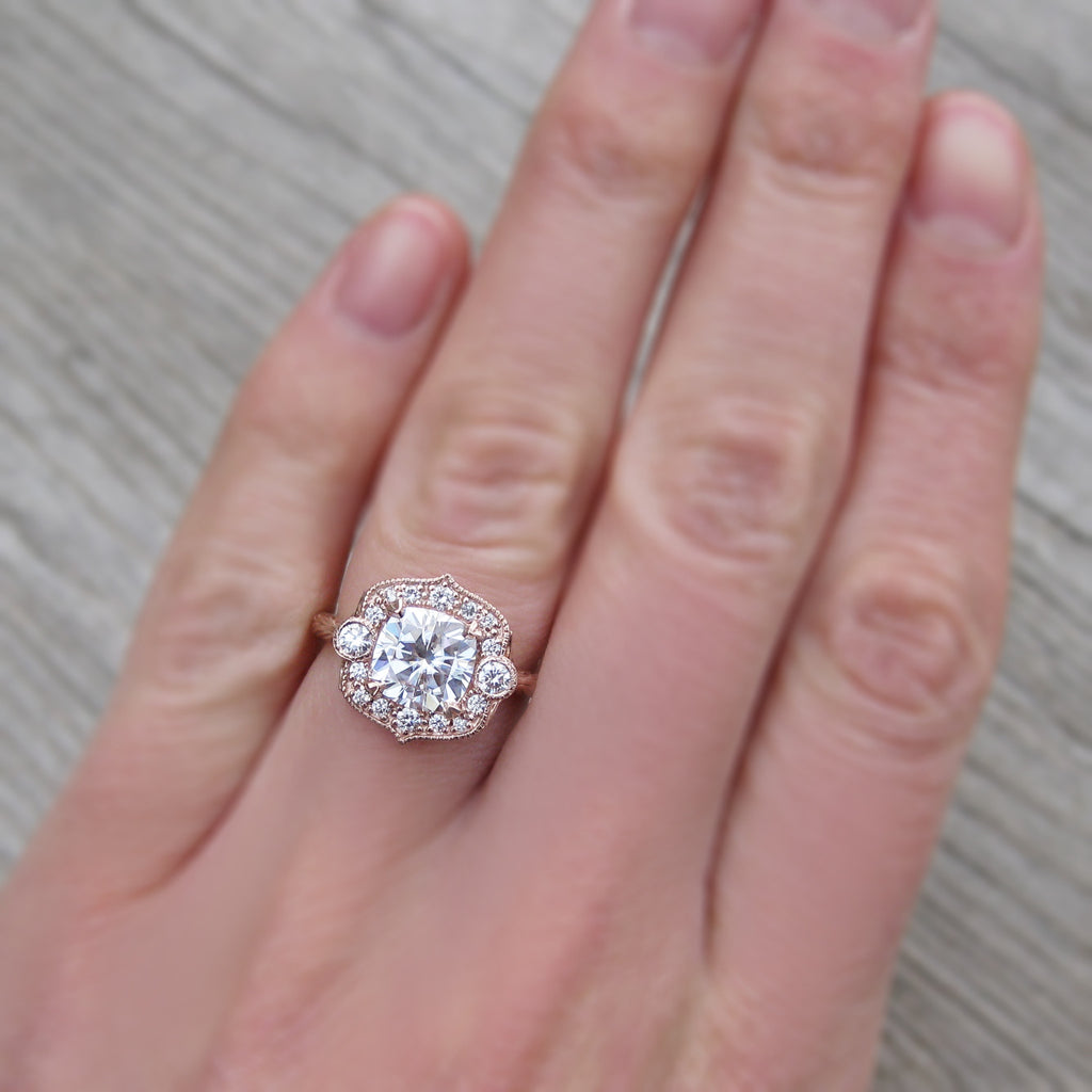2ct cushion Forever One moissanite vintage halo ring + conflict-free diamonds in rose, white, or yellow gold