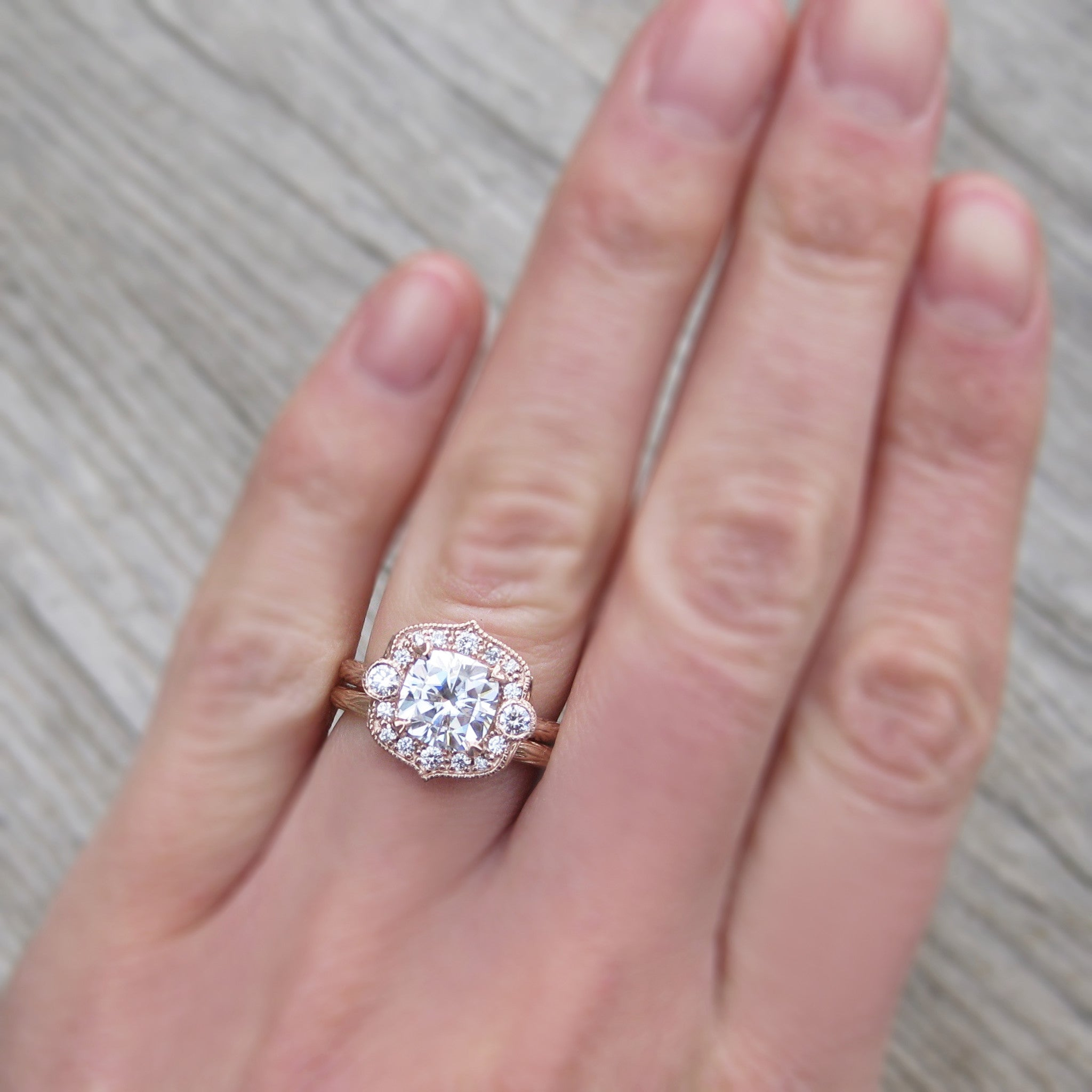 Cushion Moissanite Engagement Ring & Diamond Halo (2ct) | Kristin ...