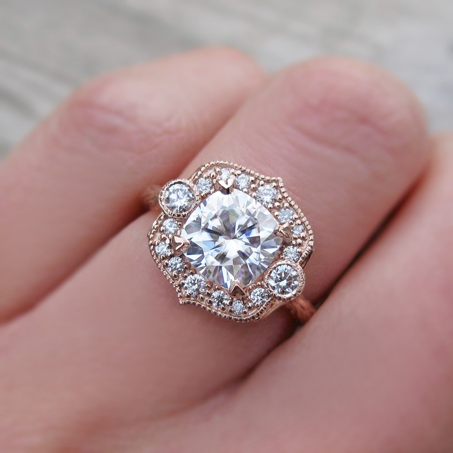 Unique Cushion Moissanite Engagement Ring & Diamond Halo (2ct) | Kristin  GO32