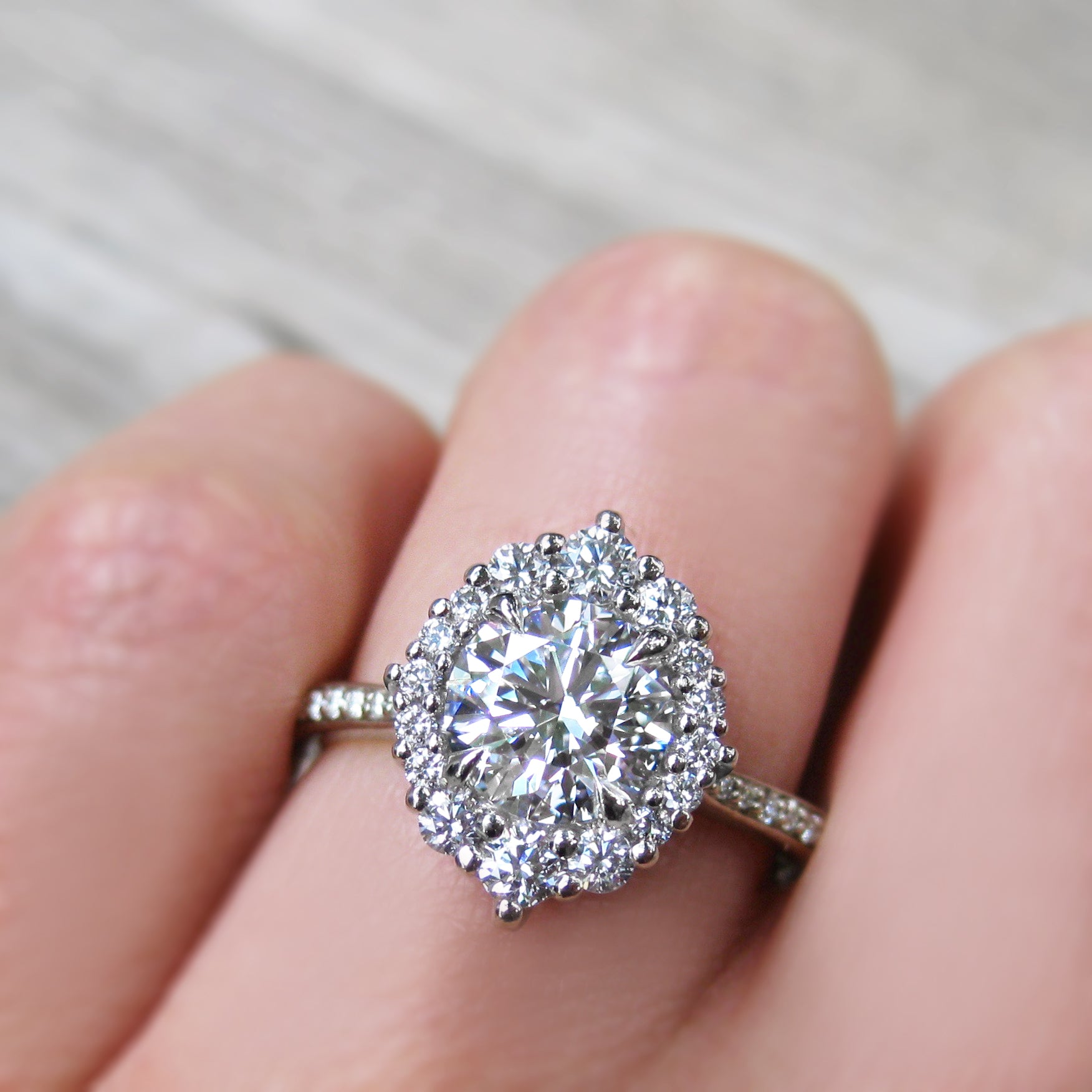 Lab Grown Diamond Engagement Ring with Diamond Halo & Pavé Band ...