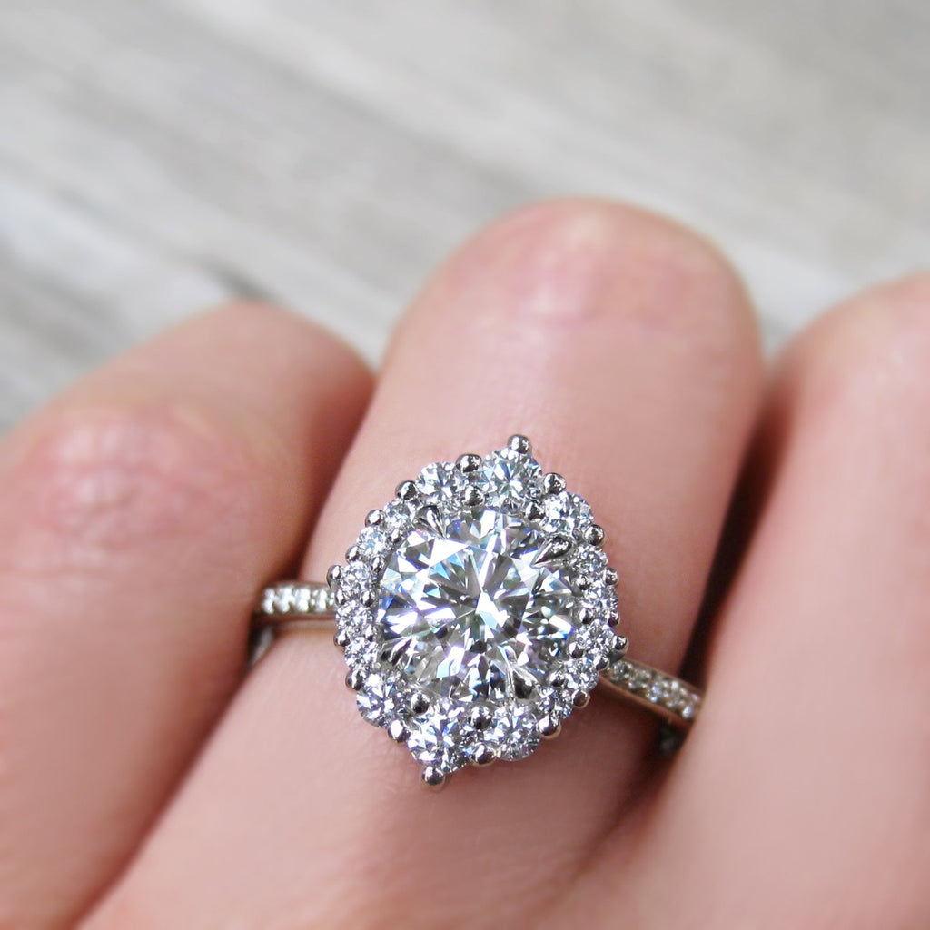 The 2ct Vintage-Inspired Lab-Grown Diamond and Conflict-Free Canadian Diamond Halo Engagement Ring