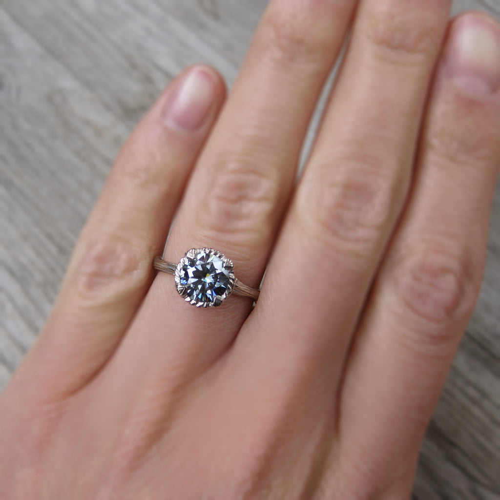 Dark Grey Moissanite Twig Engagement Ring, Carved Floral Setting (1.25ct)