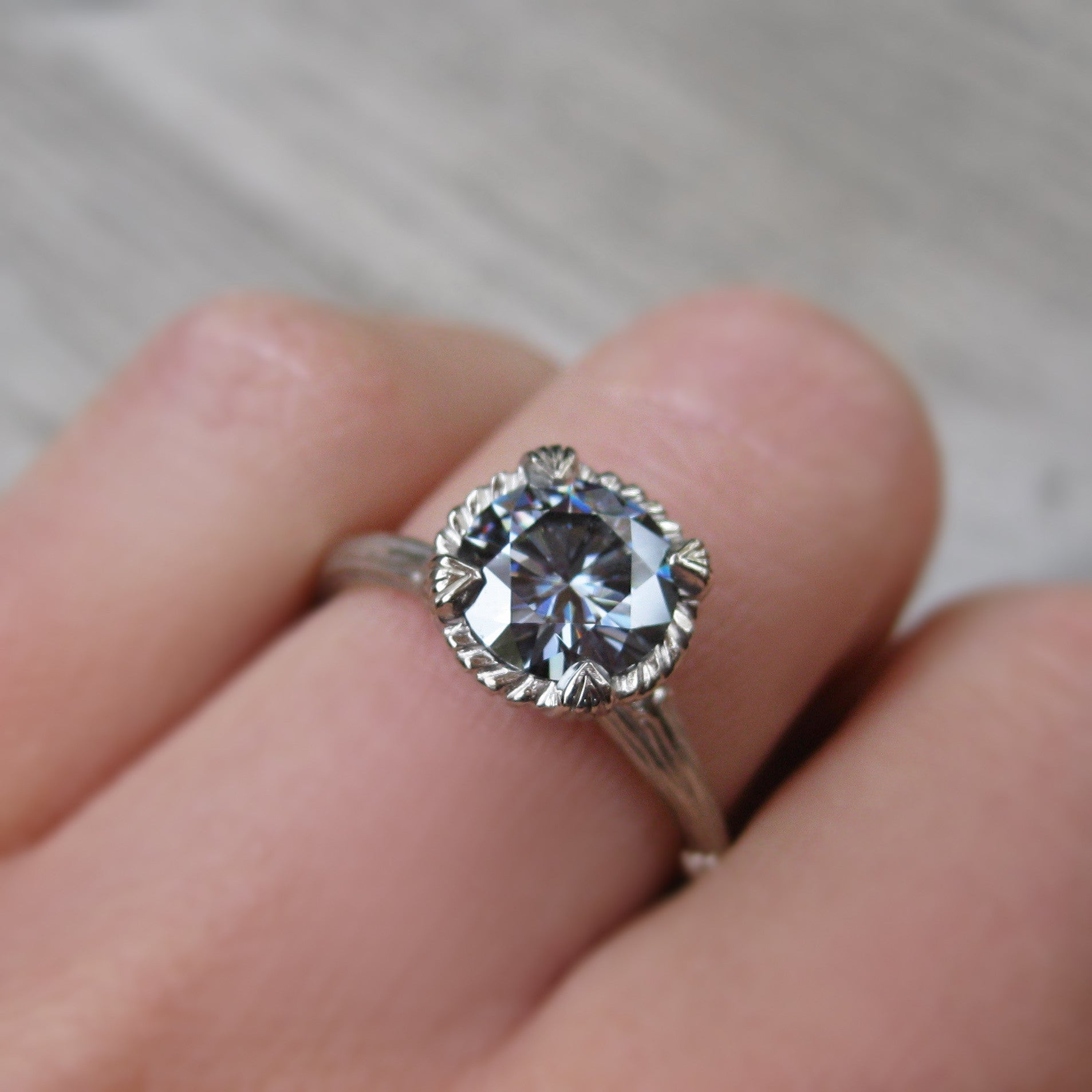 Grey Moissanite Twig Engagement Ring 1 25ct