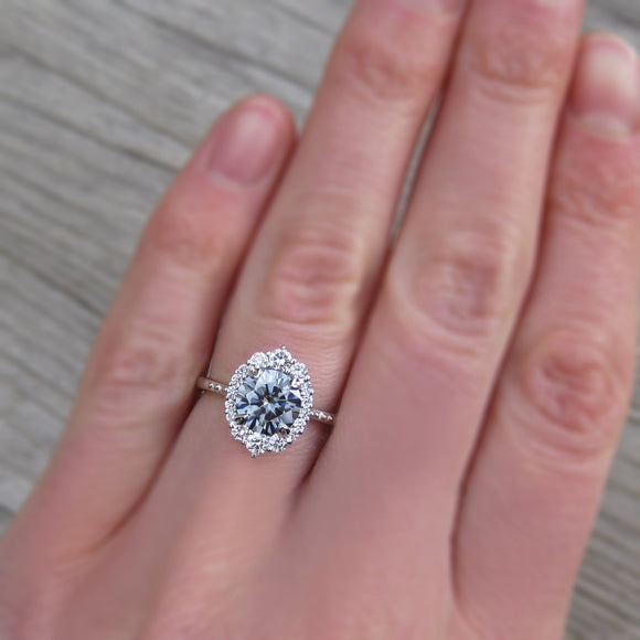 <center><strong>・EMERSON・</strong><br></center>Charles & Colvard Grey Moissanite, Diamond Halo (1.58ct, Ready to Ship)