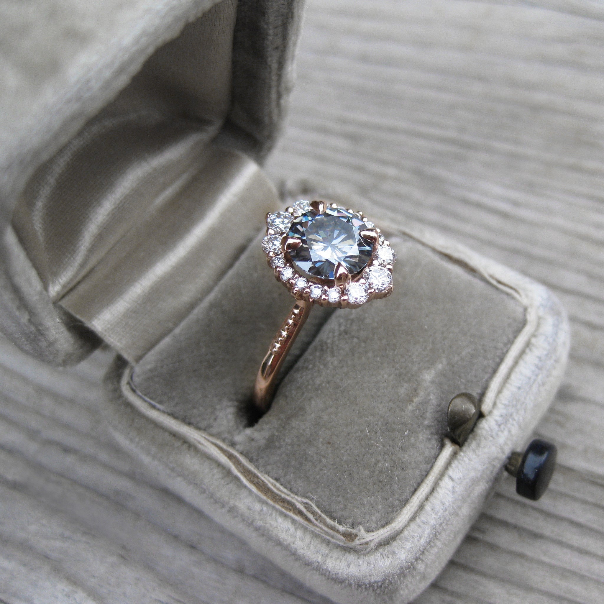 danabronfman rings collections engagement wedding with cut band halo bridal white in diamond grey rose gold tcw ring hammered