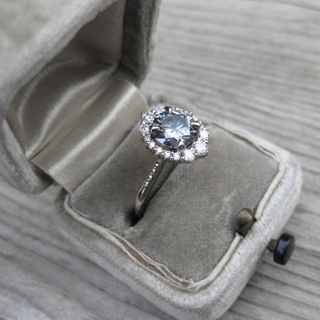 Dark Grey Moissanite Engagement Ring with Diamond Halo (1.58ct)