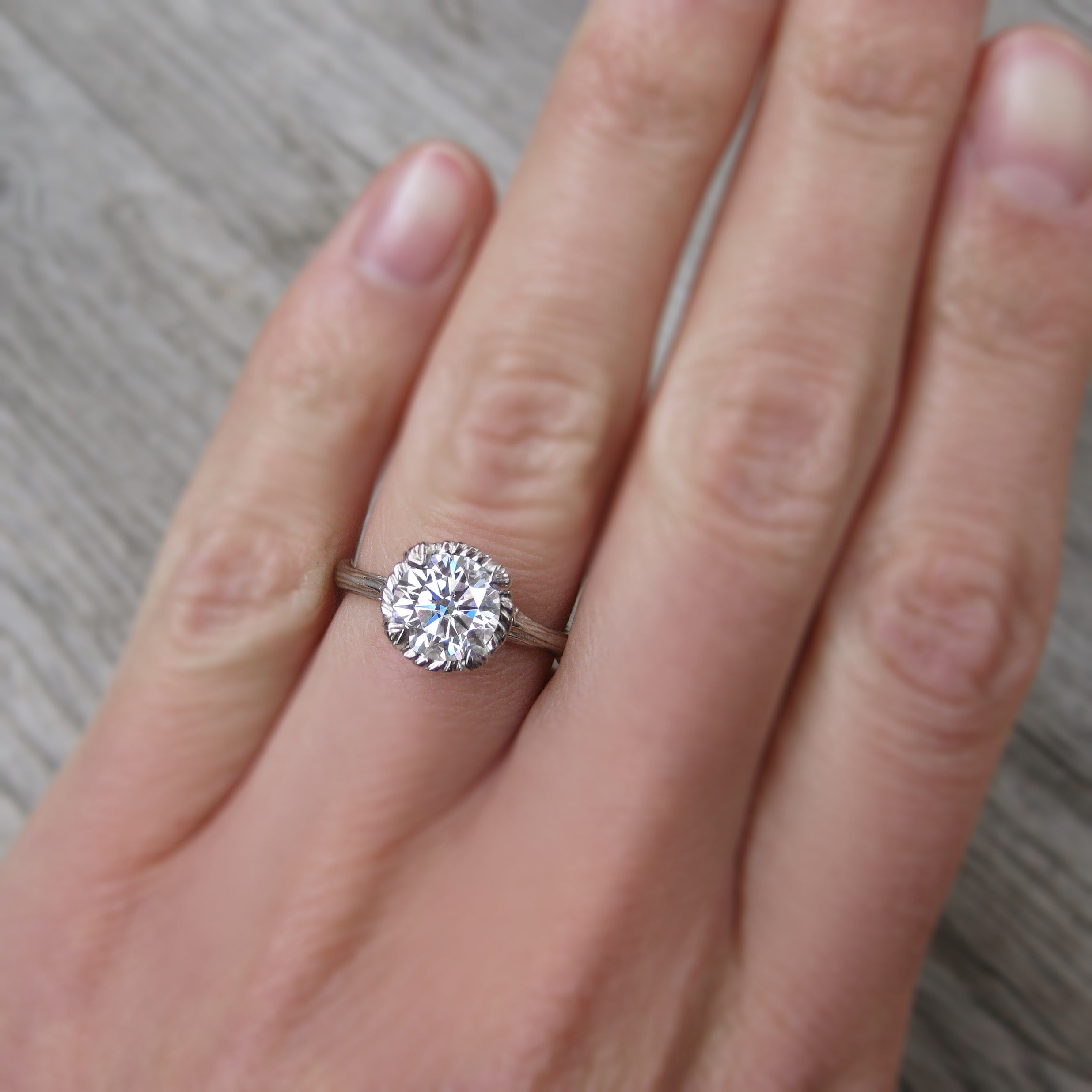 Lab-Grown Diamond Twig Engagement Ring; 1.30ct - Kristin Coffin Jewelry
