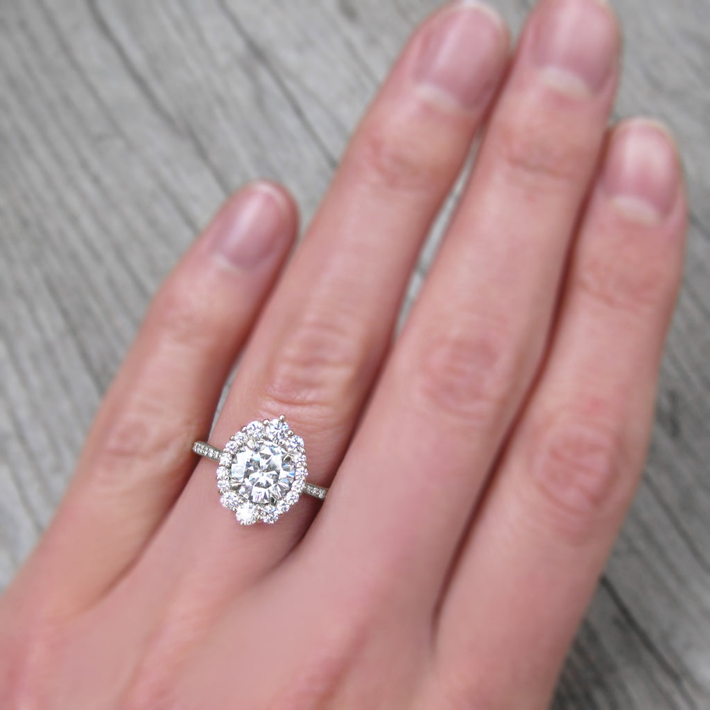 Forever One Hearts & Arrows moissanite halo engagement ring with conflict-free diamonds