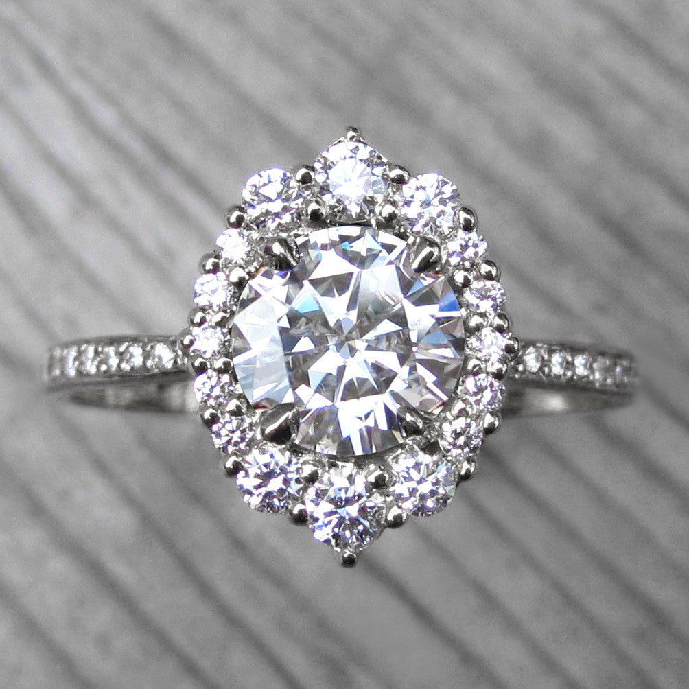 Vintage inspired Hearts & Arrows moissanite halo ring + conflict-free diamonds in 14k gold