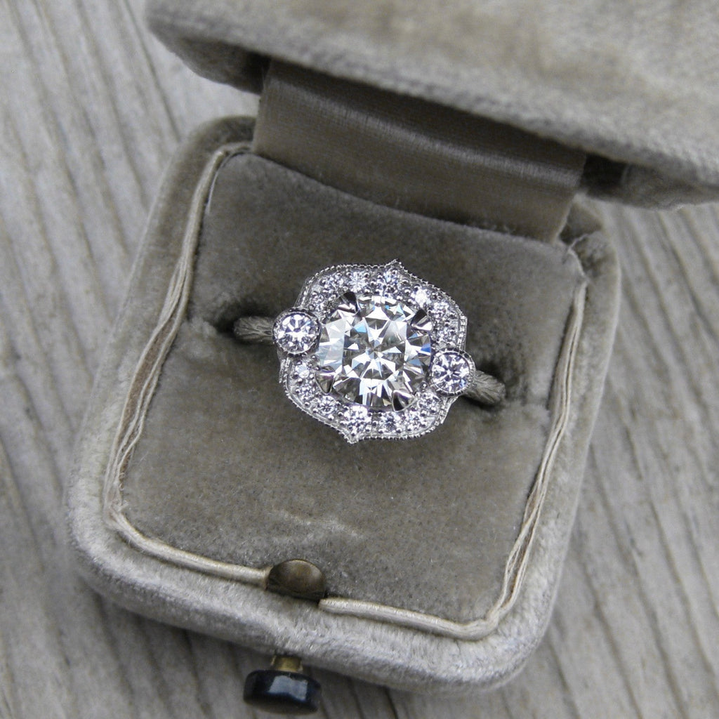Forever One moissanite vintage halo ring + conflict-free diamonds in rose, white, or yellow gold