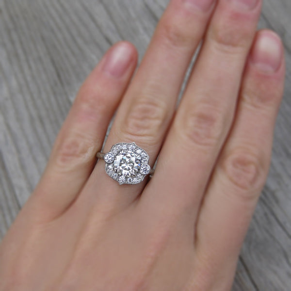 Round Forever One™ Moissanite Engagement Ring with Diamond Halo (1.5ct)