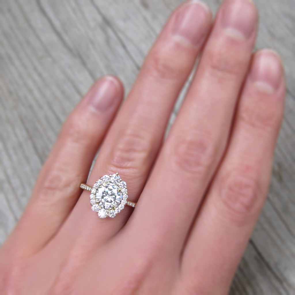 eco friendly moissanite halo ring with ethical diamonds and recycled gold
