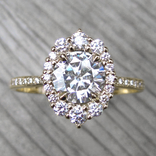 Forever One™ or Supernova™ Moissanite Engagement Ring with Diamond Halo + Pavé Band (1.70ct +)