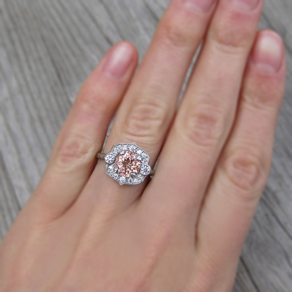 peach sapphire art deco halo ring + conflict-free diamonds in rose, white, or yellow gold