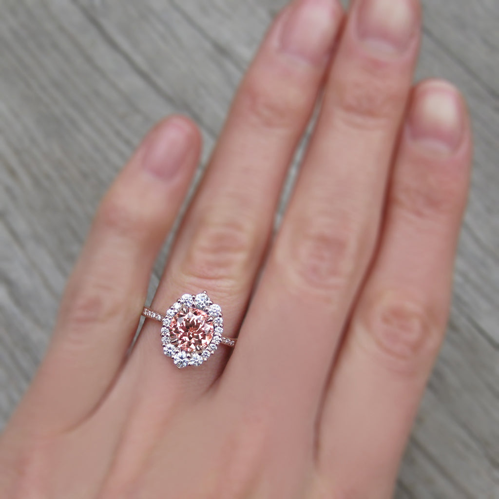 Peach Sapphire Engagement Ring with Diamond Halo + Pavé Band (2.25ct +)