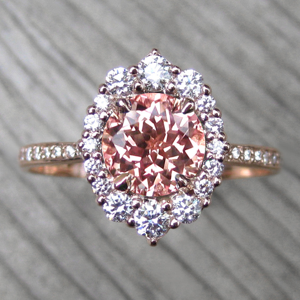 peach sapphire vintage halo ring + conflict-free diamonds in rose gold