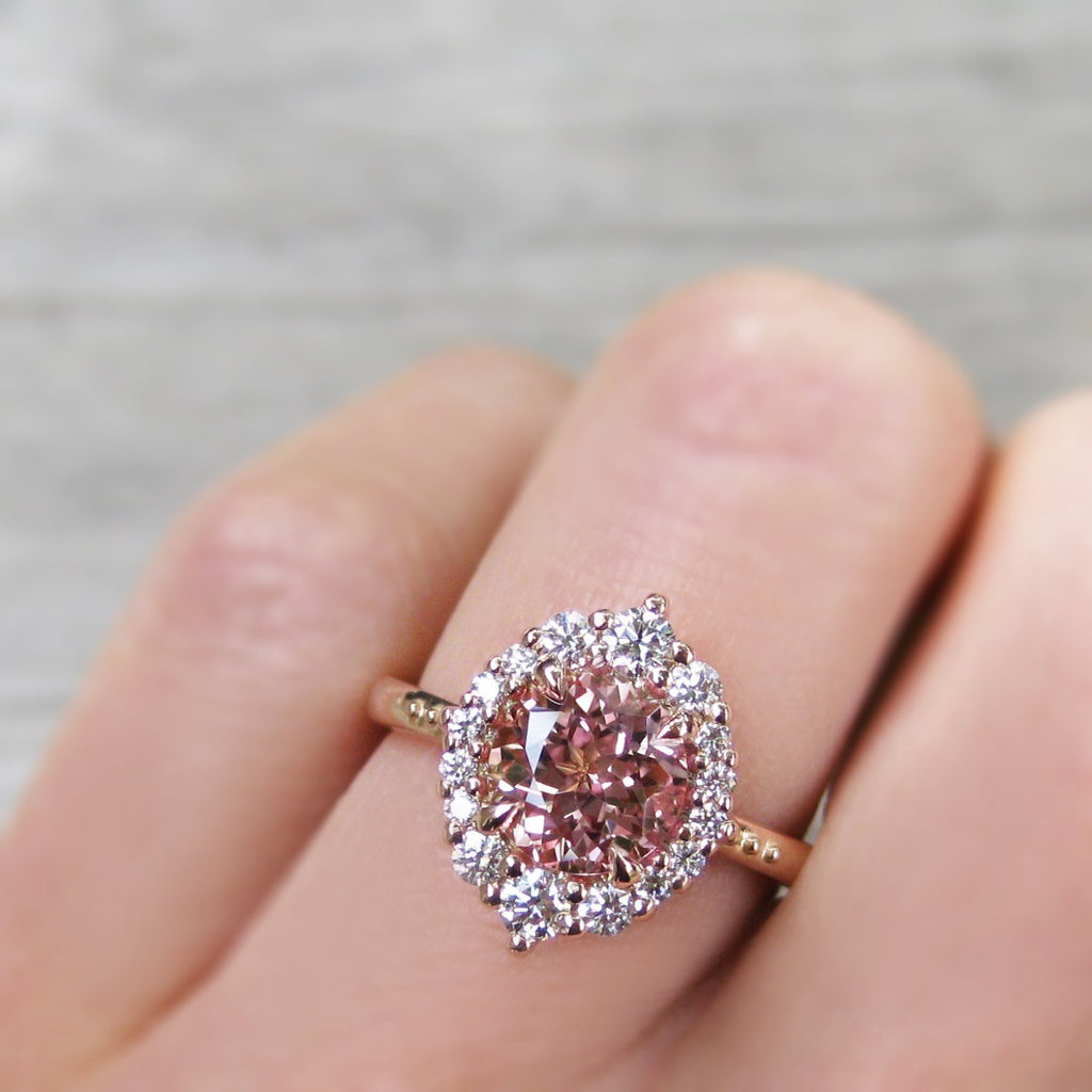 Peach champagne sapphire engagement ring rose gold with diamonds