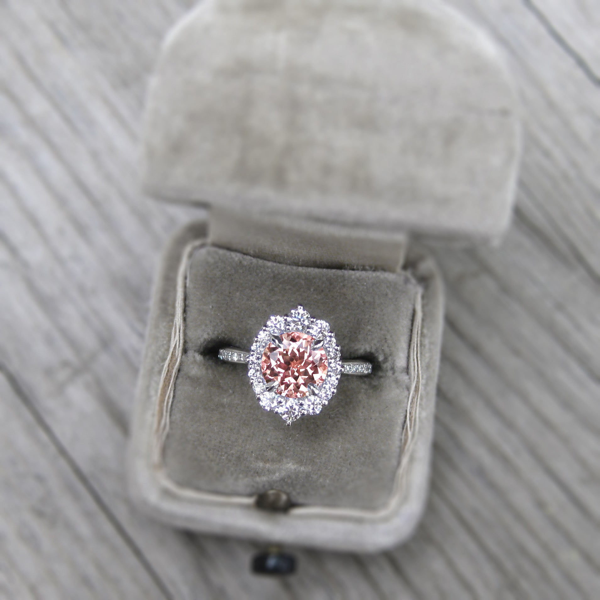 Champagne peach sapphire engagement ring with diamond halo pav save peach sapphire engagement ring with diamonds in 14k gold modeled in engagement ring box junglespirit Choice Image