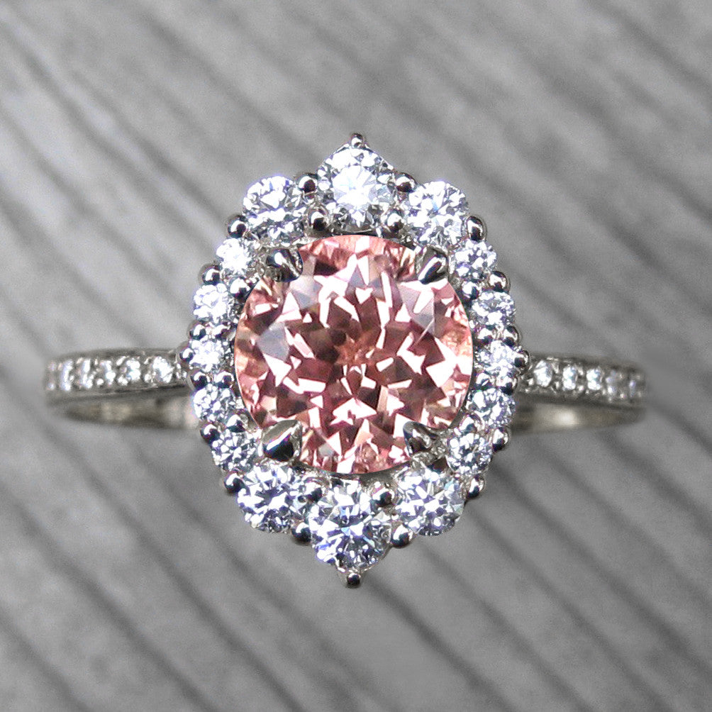Champagne sapphire vintage halo ring + conflict-free diamonds in white gold